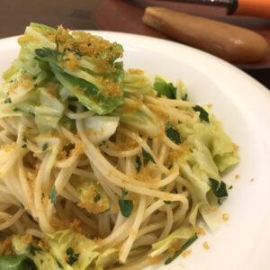 自家製からすみとキャベツのスパゲッティ